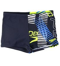 Speedo Badebukser - Allover Aquashorts - Navy/Neongul
