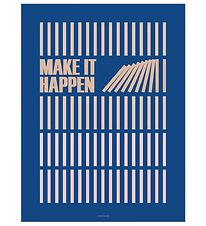 Vissevasse Plakat - 50x70 cm - Make It Happen - Navy