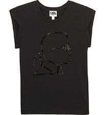 Karl Lagerfeld T-shirt - Digit Aesthetic - Sort m. Pailletter