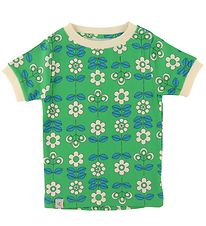 AlbaBaby T-shirt - Bella - Kelly Green m. Blomster