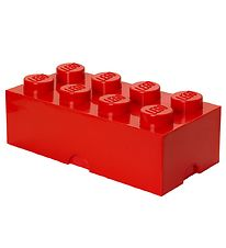 Lego Storage Madkasse - 7,5x20x10 cm - 8 Knopper - Bright Red