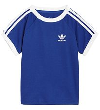 adidas Originals T-shirt - 3 Stripes - Royal Blue/Hvid m. Logo