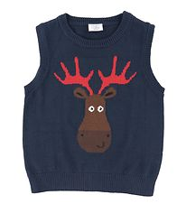 Hust and Claire X-Mas Vest - Strik - Prince - Navy m. Rensdyr