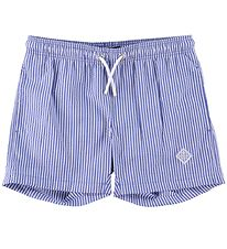 GANT Badeshorts - Seersucker - Nautical Blue/Hvidstribet