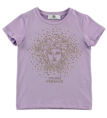 Young Versace T-Shirt - Lavendel m. Logo/Nitter