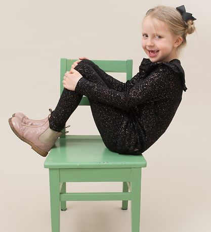 Little Wonders Leggings - Sort m. Glimmerprikker
