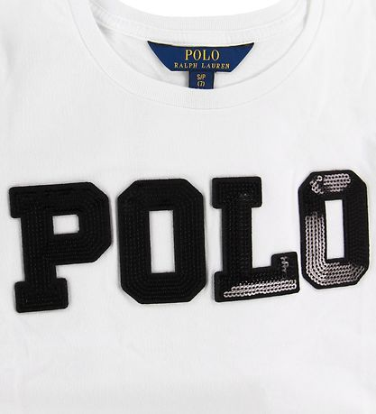 Polo Ralph Lauren T-shirt - Hvid m. Sort/Pailletter