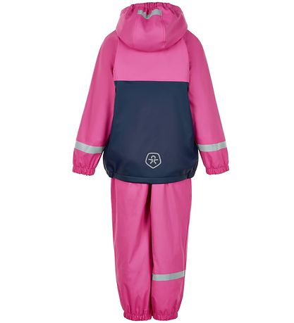 Color Kids Regntøj m. Seler/Fleece - PU - Rose Violet/Navy