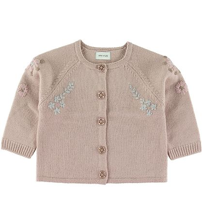 Mini A Ture Cardigan - Uld - Kerry - Cloudy Rose m. Blomster