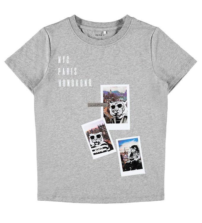 Image of Name It T-shirt - NkmFaust - Grå m. Print (CA206)