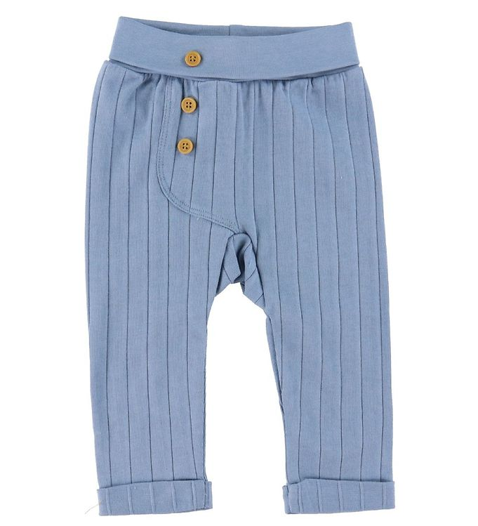 Se Fixoni Fixoni Bukser - Rib - Faded Denim m. Knapper ved KidsWorld