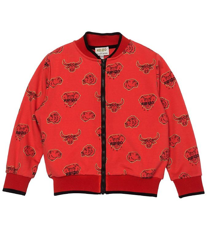 Image of Kenzo Cardigan - Exclusive Edition - Bright Red/Sort m. Kenzos D (CB404)