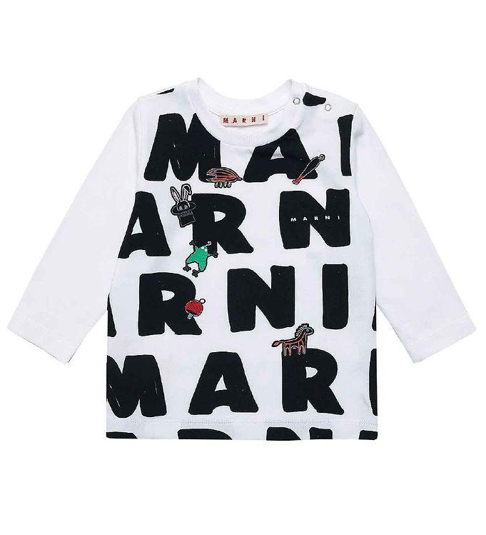 Image of Marni Bluse - Hvid m. AOP Logo (CE179)