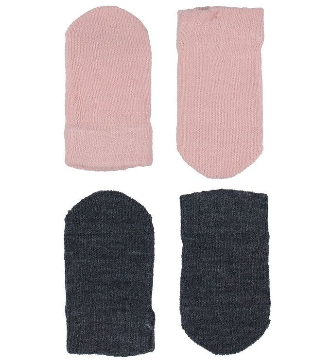 Melton Luffer – Strik – 2-pak – Mørkegrå/Rosa