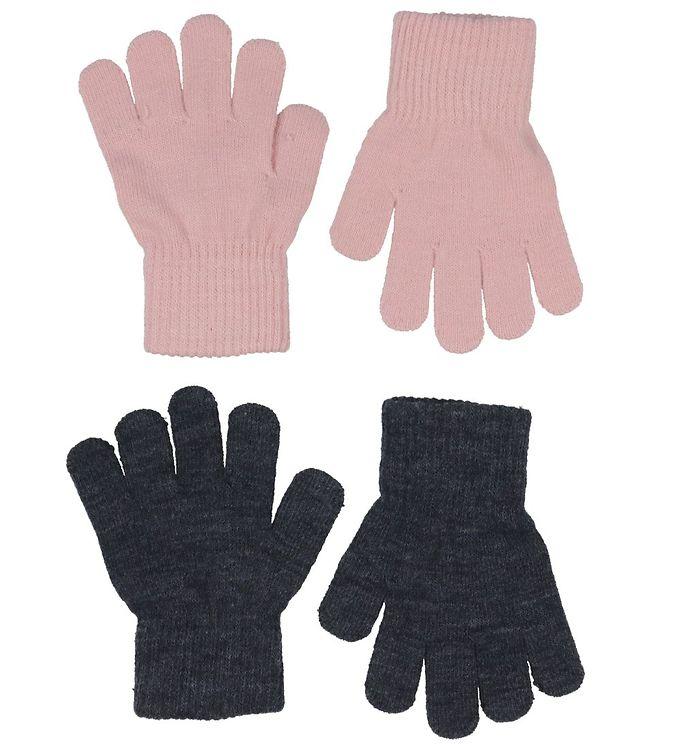 Melton Handsker – Strik – 2-pak – Mørkegrå/Rosa