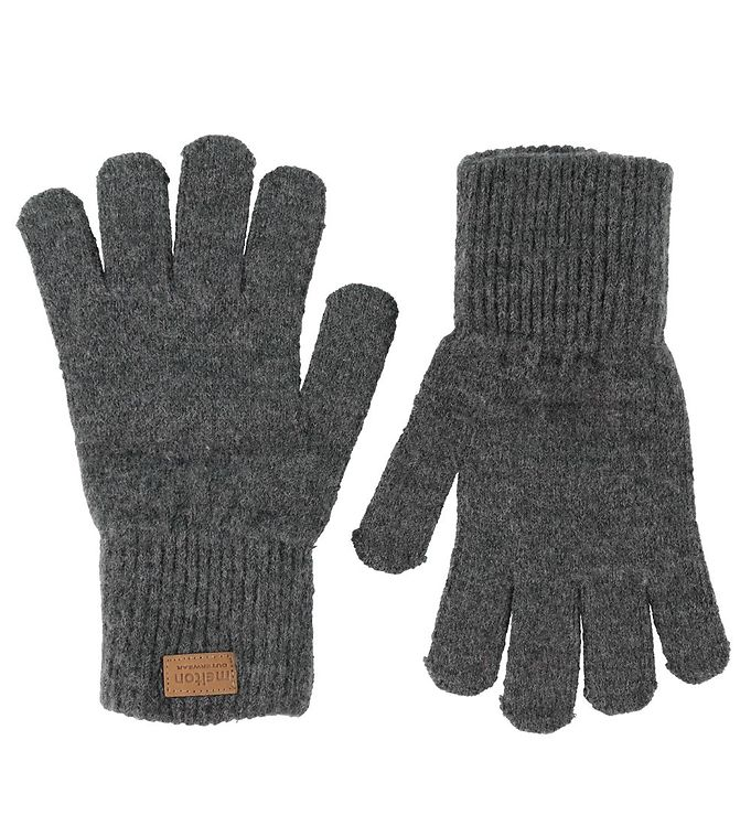Melton Handsker – Uld/Akryl – Gråmeleret