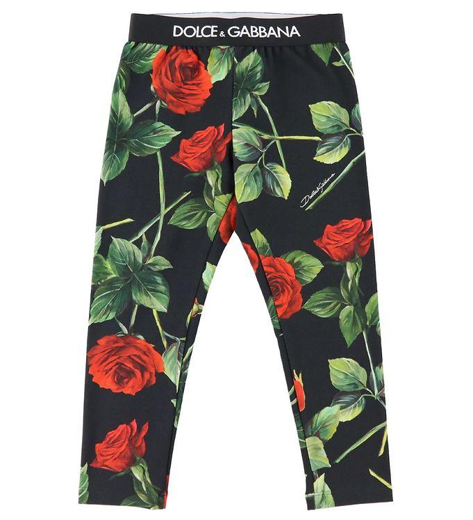 Dolce & Gabbana Leggings - 90's - Sort m. Roser