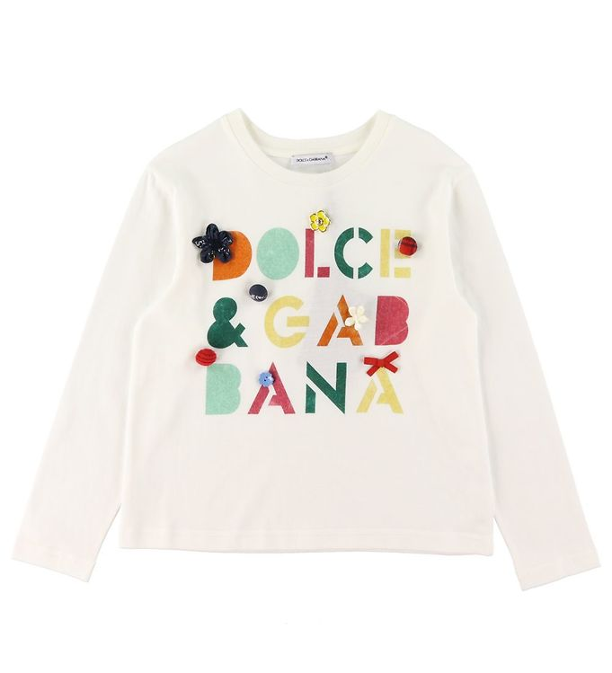 Dolce & Gabbana Bluse - Hvid m. Tekst/Knapper