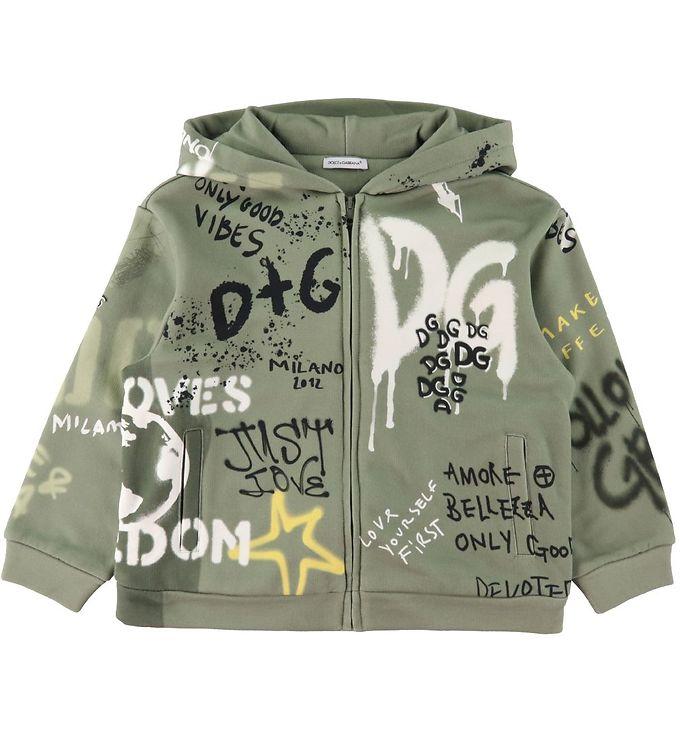 Dolce & Gabbana Cardigan - DG Skate - Støvet grøn m. Graffiti