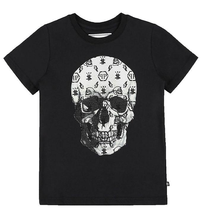 Image of Philipp Plein T-Shirt - Stones Skull - Sort m. Hvid/Similisten (EB108)