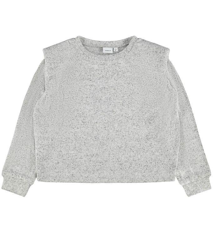 Image of Name It Bluse - NkfNiline - Strik - Light Grey Melange (EB632)