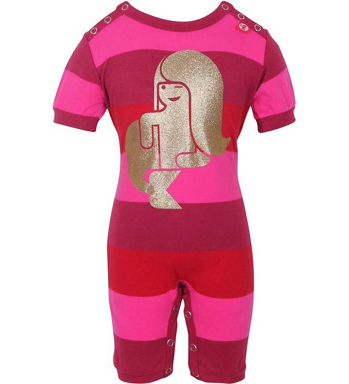 Image of Danefæ Sommerdragt - Pink stribet m. Guld Havfrue (HI075)
