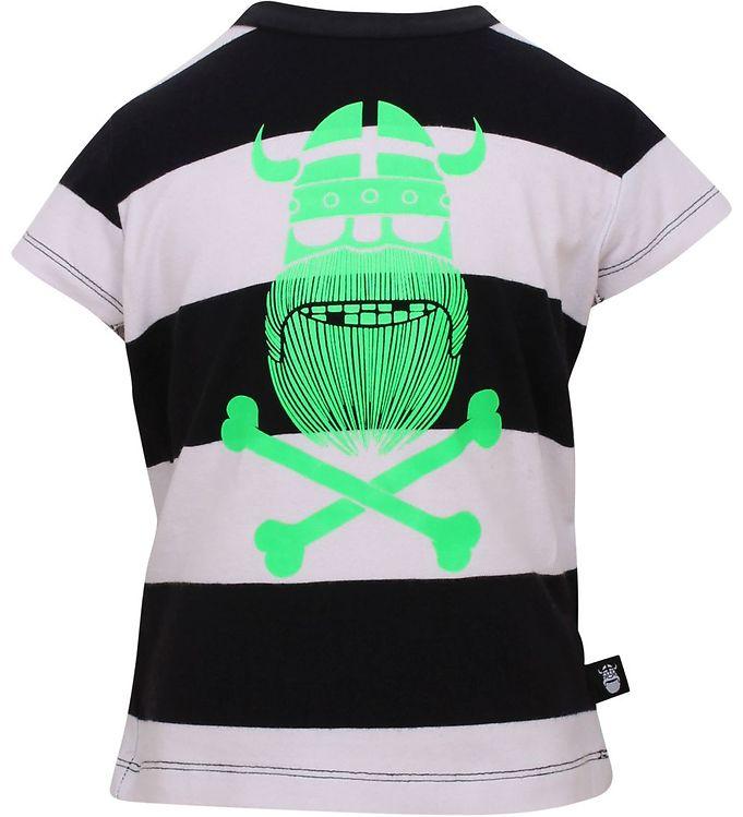 Billede af Danefæ T-shirt - Sort/Hvid stribet m. neongrøn viking