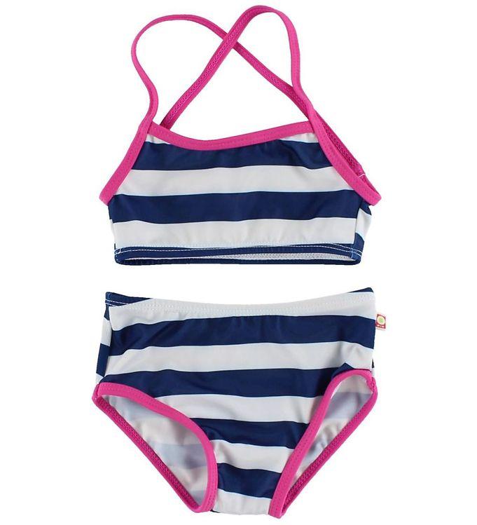 Billede af Katvig Bikini - UV50 - Navy/Hvidstribet m. Pink kant