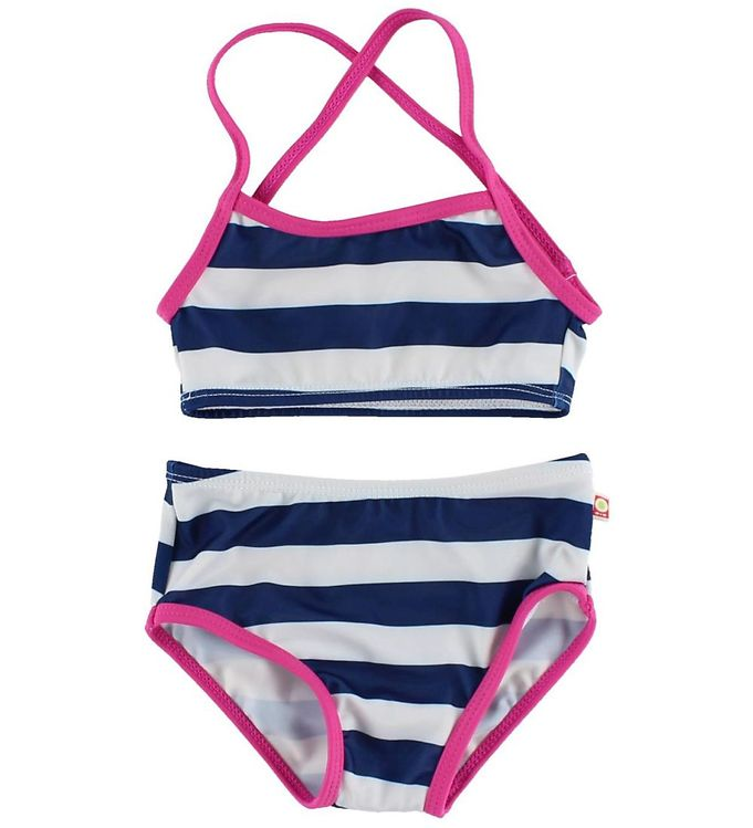 Image of Katvig Classics Bikini - UV50 - Navy/Hvidstribet m. Pink Kant (HO791)