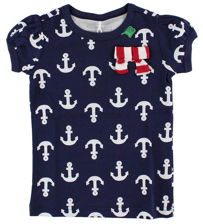Image of Freds World T-shirt - Navy m. Anker & Sløjfe (HU075)