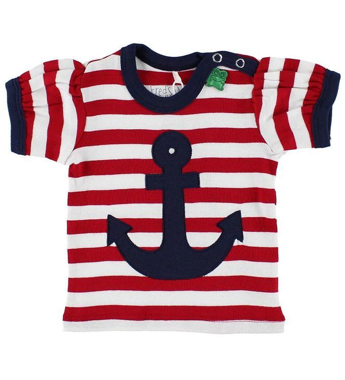 Billede af Freds World T-shirt - Rød/Hvidstribet m. Anker
