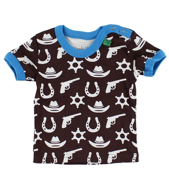 Image of Freds World T-shirt - Brun/Turkis m. Cowboy (HU109)