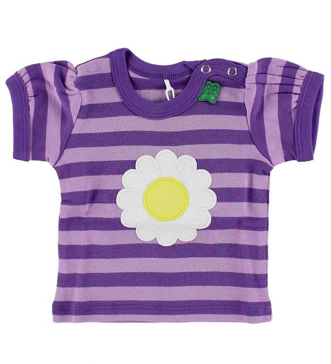 Billede af Freds World T-shirt - Lillastribet m. Marguerit