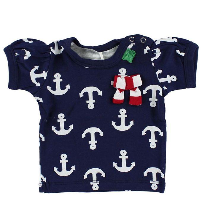 Billede af Freds World T-shirt - Navy m. Anker & sløjfe