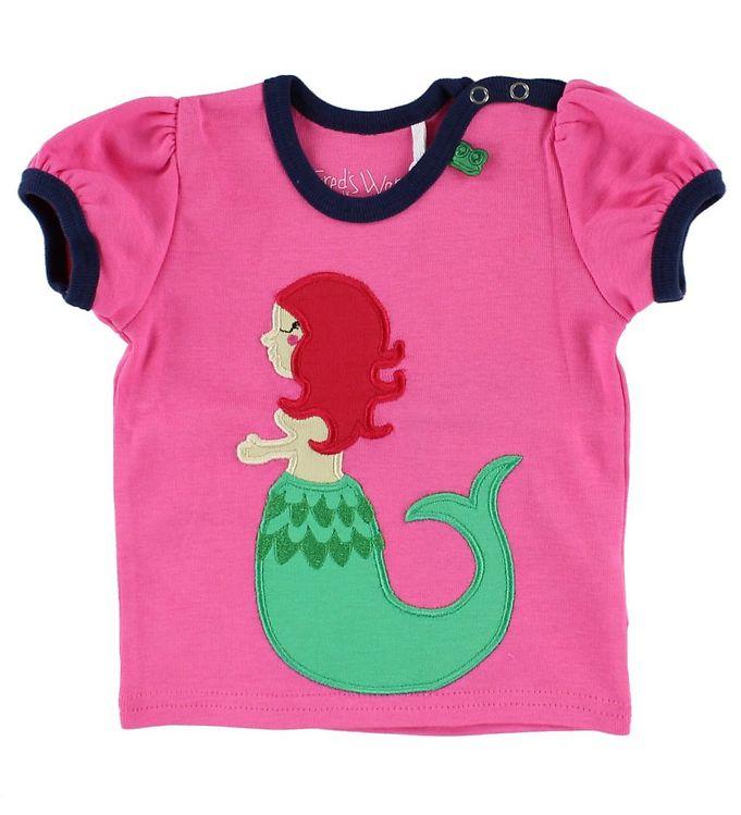 Billede af Freds World T-shirt - Pink m. Havfrue