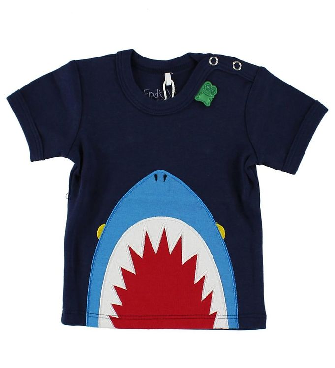 Image of Freds World T-shirt - Navy m. Haj (HU182)