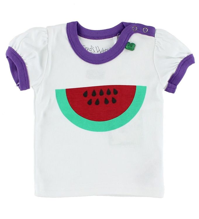 Image of Freds World T-shirt - Hvid m. Vandmelon (HU199)