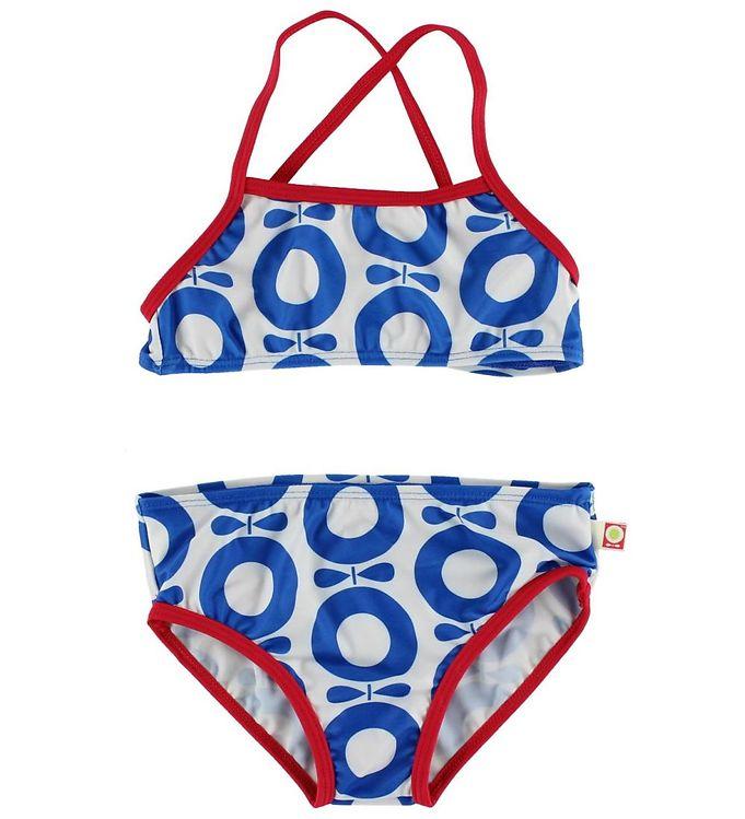 Image of Katvig Classics Bikini - UV50 - Hvid/Rød m. Blå Æbler (HU492)