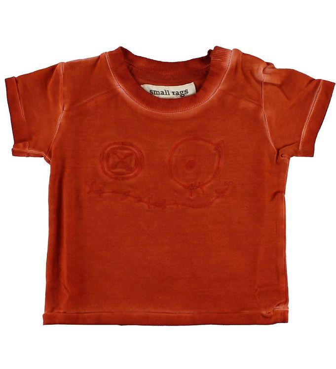 Image of Small Rags T-shirt - Brændt Rød m. Ansigt (IC445)