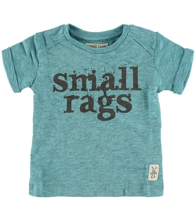 Image of Small Rags T-shirt - Turkismeleret m. Logo (IC489)