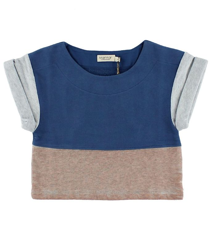 Image of MarMar Crop Top - Tamara - Blå/Grå/Gl. Rosa (IC579)