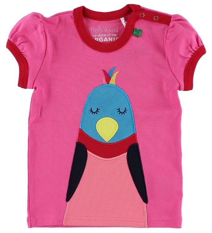 Image of Freds World T-shirt - Pink m. Fugl (IE098)