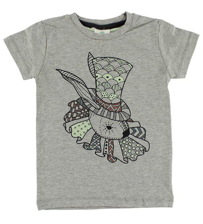 Image of En Fant T-shirt - Gråmeleret m. Kanin (IE359)