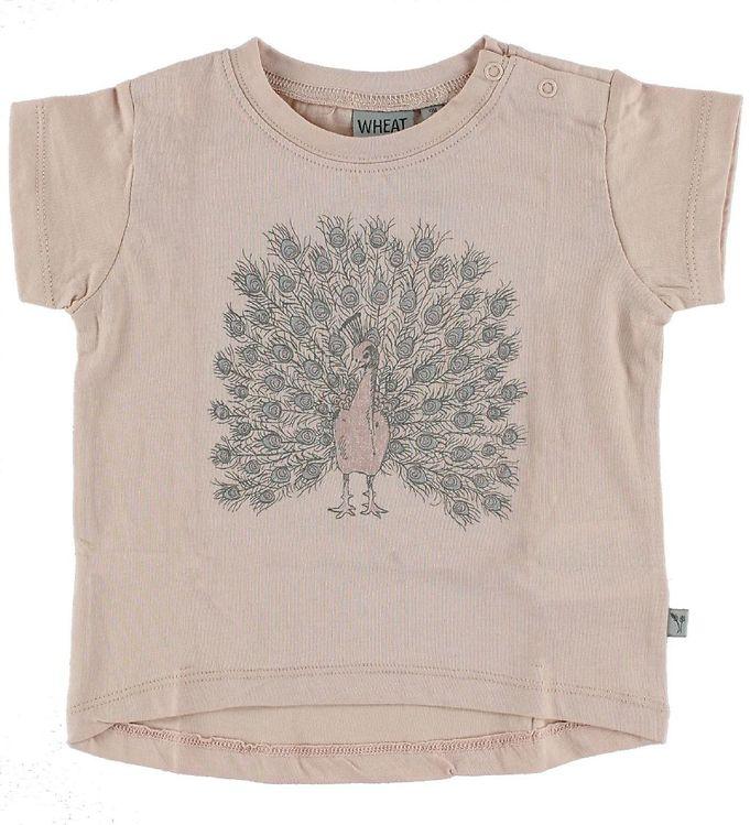 Image of Wheat T-shirt - Powder m. Påfugl (IF303)