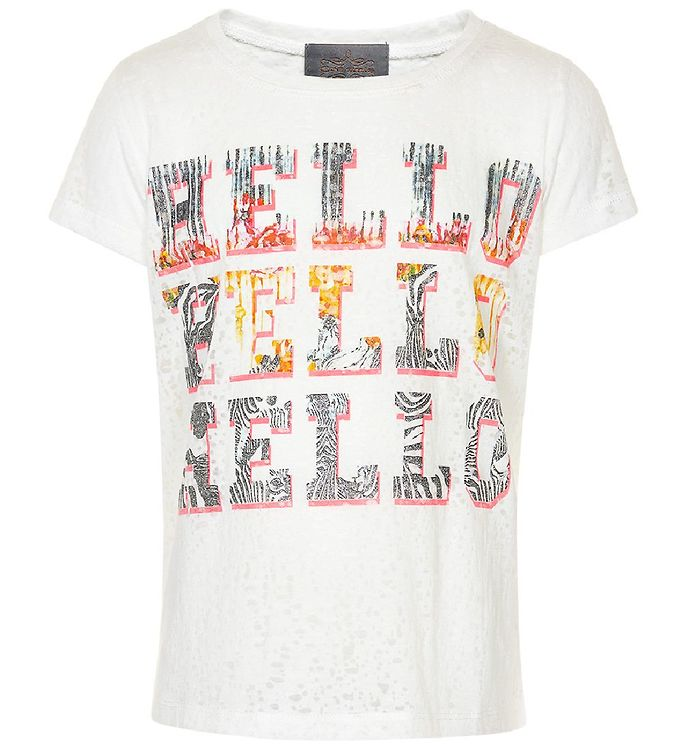 Image of Creamie T-shirt - Hvidmeleret m. Hello (IF618)