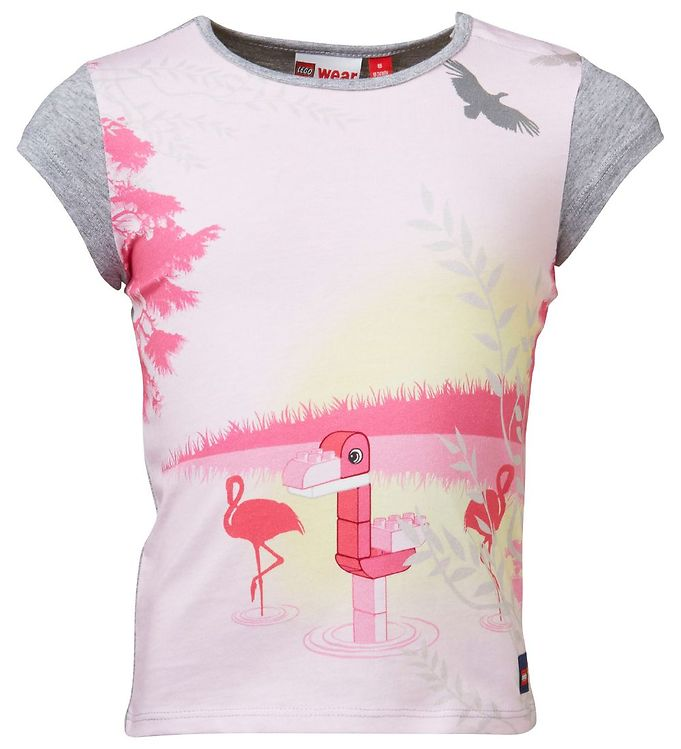 Image of Lego Duplo T-shirt - Gråmeleret/Rosa m. Flamingo (IF884)