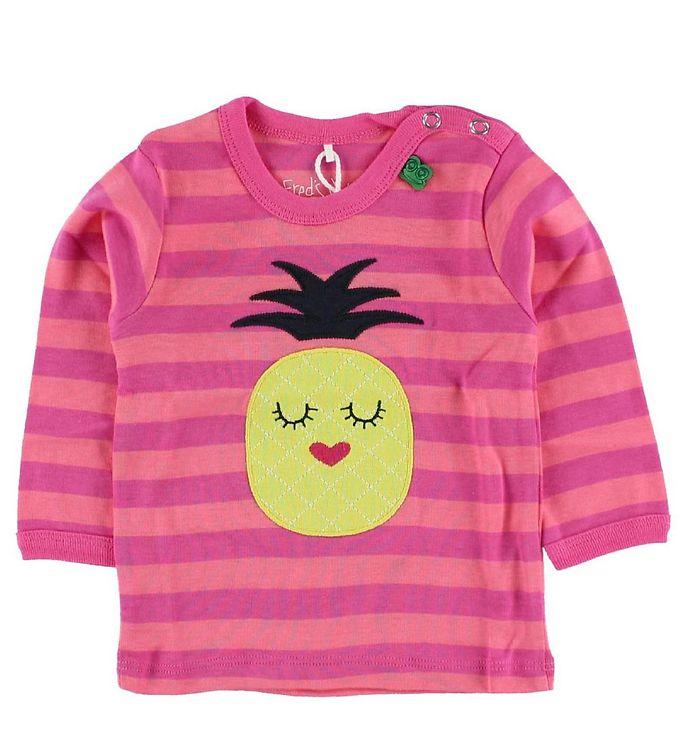 Image of Freds World Bluse - Pink/Koralstribet m. Ananas (IG849)