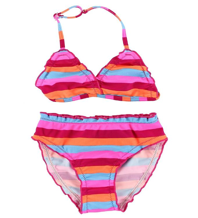 Image of Color Kids Bikini - Vivi - UV40 - Pink/Orange/Turkisstribet (IH625)