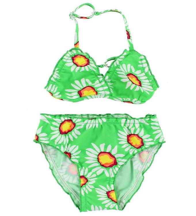 Image of Color Kids Bikini - Vivi - UV40 - Grøn m. Blomster (IH628)