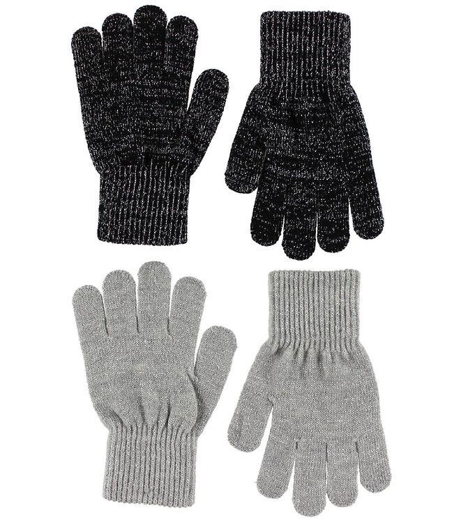 Melton Handsker – 2-pak – Grå/Sort m. Glitter